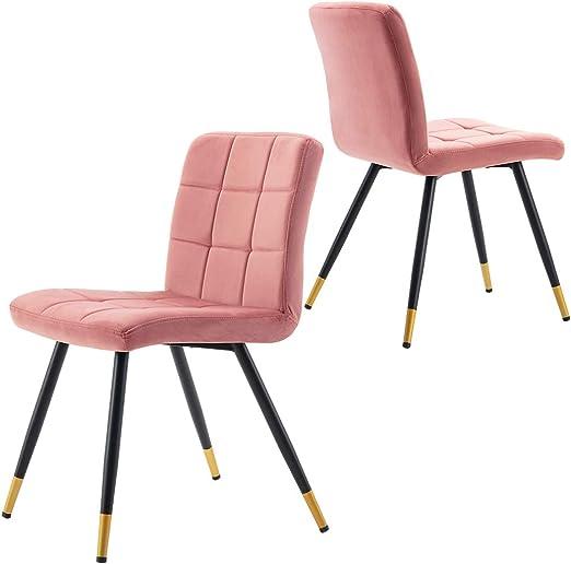 Esszimmerstuhl aus Stoff Samt Farbauswahl Stuhl Retro Design Polsterstuhl mit Rückenlehne Metallbeine mit Goldfärbung am Beinende Duhome 8043B Gold,