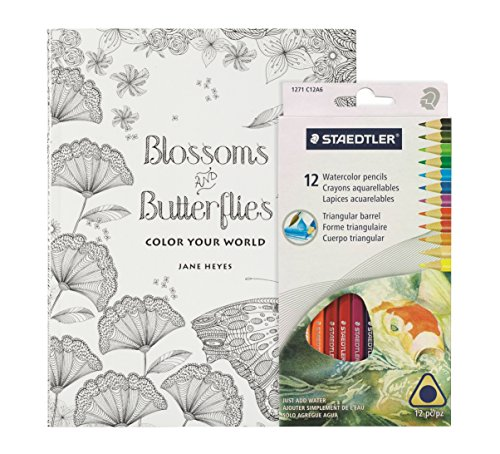 Coloring Books for Seniors: Including Books for Dementia and Alzheimers - Adult Coloring Book Kit - Blossoms & Butterflies Mandalas with Large Pages and Intricate Bird, Butterfly and Flower Designs - Includes 12 Staedtler Watercolor Colored Pencils