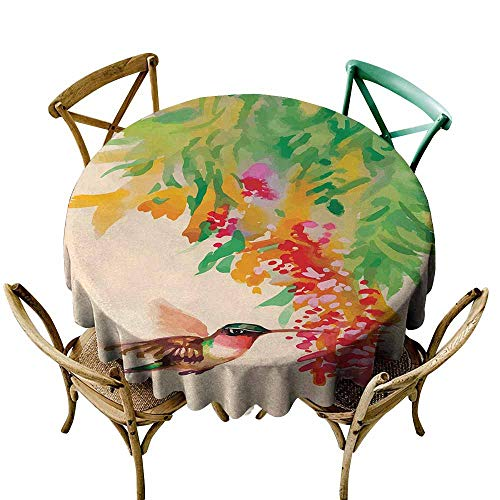 Zmlove Hummingbird Antifouling Tablecloth Image of Colibri Bird and Flowers Exotic Tree Bloom in Watercolor Effect Washable Tablecloth Green Red Beige (Round - 51