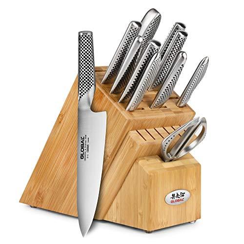 (Global Bamboo Knife Block Set, 12 piece)