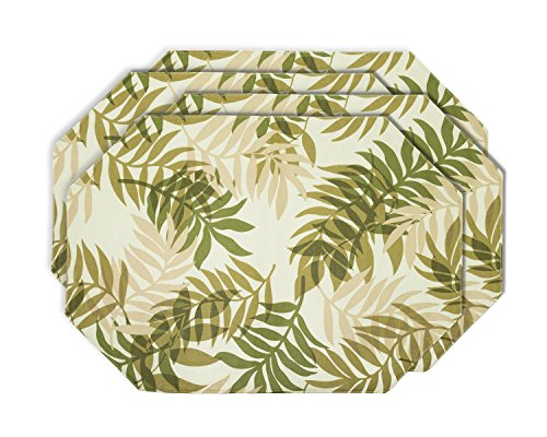 YOURTABLECLOTH Elegant Fern Vinyl Table Placemats Placemat with Thicker Construction Set of 4 Similar Color Mats Heavy Duty, Premium Finish Double Layer Design Be it Restaurant or (Thickers Vinyl)