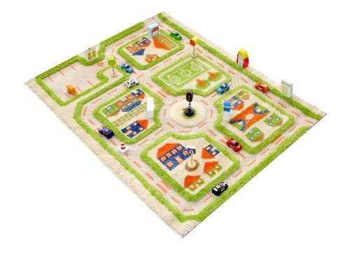 Little Helper IVI Exclusive Thick 3D Childrens Play Mat & Rug in a Colourful Town Design with 3 Dimensional Football Pitch, Car Parks & Roads, Green (80 x 100cm) by Little Helper