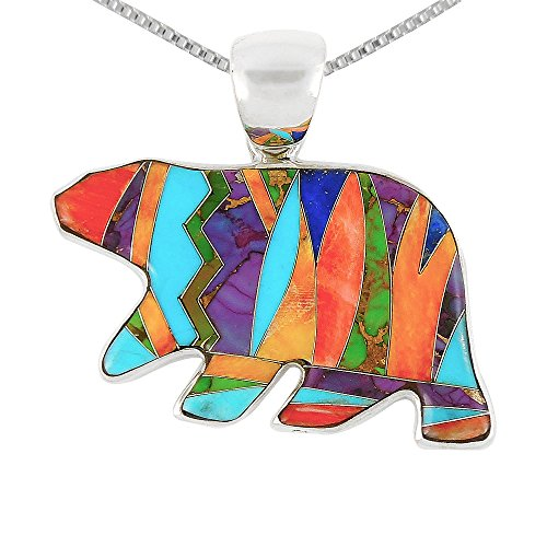 Bear Pendant Necklace 925 Sterling Silver Genuine Turquoise & Gemstones 24