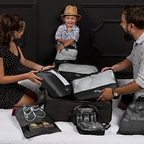 Packing Cubes Travel Set 7 Pc Luggage Carry-On Organizers Toiletry & Laundry Bag by Free Rhythm (Image #3)