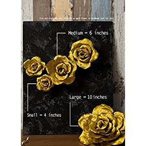 5 Large Crepe Paper Flowers,Handcrafted Flowers,Nursery Wall,Metallic Gold Rose Flower,for Wedding Backdrop, Gold Bachelorette,Baby Shower,Photo Backdrop,Gatsby Nursery,Archway Decor 5