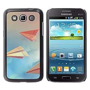 TECHCASE**Cubierta de la caja de protección la piel dura para el ** Samsung Galaxy Win I8550 I8552 Grand Quattro ** Paper Planes Sky Clouds Blue Paper Art
