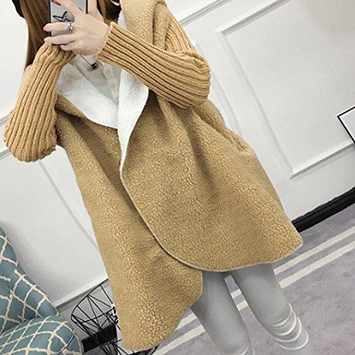 Knitted Coat Oversized wool Sleeve Long Women Cardigan Khaki Sweater Hooded Lady Loose RSq7CI