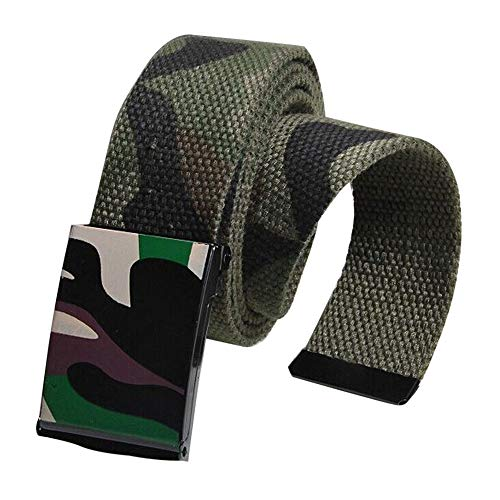 Toimothcn Mens Canvas Belt Adjustable Camouflage Belts with Automatic Square Buckle (Green,One)