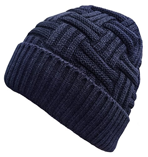 - Loritta Mens Winter Warm Knitting Hats Wool Baggy Slouchy Beanie Hat Skull Cap Blue