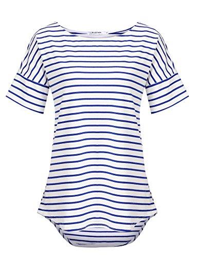 Women's Short Sleeve Tops Casual Stripes T-Shirt Raglan Sleeve Tunics Blouse (Blue&White, US M(8-10)) ()