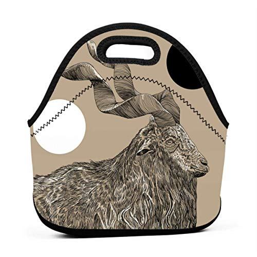 (Twisted Horns Lunch Bag for Women,Men and Kids - Reusable Soft Lunch Tote for Work and School )