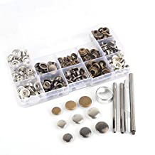 inBox 60 Completed Sets 3 Sizes 12.5/15/17mm 3 Colors 5pcs Tools Silver Brass Gunmetal Black Snap Fasteners Poppers Sewing Leather Buttons Studs in Box with Fixing Tool for Adding Secure Closure to Jackets, Jeans, Bags, Straps and Other Sewing Projects - Popper for Clothes Repair