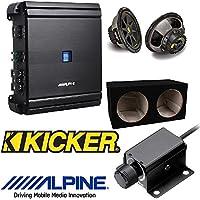 Alpine MRV-M500 Mono V-Power Digital Amplifier RUX-KNOB.2 Remote Bass Level Control Dual 12-Inch, 3/4-Inch MDF Sealed Subwoofer Enclosure Kicker 12 300W 4-Ohm COMP Series Car Audio