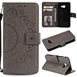 Galaxy A5 2017 Floral Wallet Case,Galaxy A5 2017 Strap Flip Case,Leecase Embossed Totem Flower Design Pu Leather Bookstyle Stand Flip Case for Samsung Galaxy A5 2017-Grey
