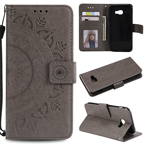 Galaxy A5 2017 Floral Wallet Case,Galaxy A5 2017 Strap Flip Case,Leecase Embossed Totem Flower Design Pu Leather Bookstyle Stand Flip Case for Samsung Galaxy A5 2017-Grey by Leecase
