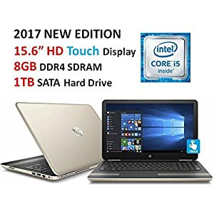 "HP Pavilion High Performance 15.6"" Touchscreen Laptop, Intel Core i5-6200U, 8GB DDR4 RAM, 1TB HDD, DVD, Bluetooth, HDMI, 802.11AC Wi-Fi, HD Webcam, Windows 10-Gold"