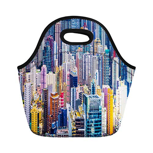 - Semtomn Neoprene Lunch Tote Bag Asia Hong Kong China Dense Cityscape of Office Buildings Reusable Cooler Bags Insulated Thermal Picnic Handbag for Travel,School,Outdoors, Work