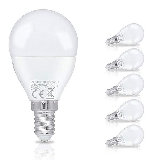 Hengda 3W P45 Bombilla LED esférica E14 ,equivalente a 25W, Blanco cálido 2700K,