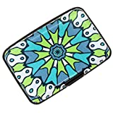 RFID Blocking Credit Card Holder Case Protector Wallet Hard Slim Travel Purse for Women with 6 Slots Portable (Boho Green, Small)