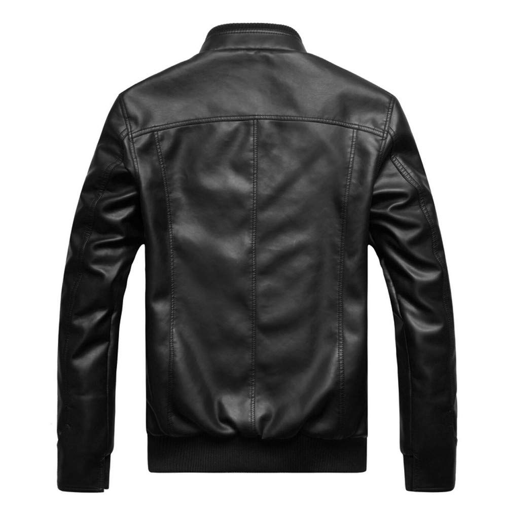 WM & MW Mens Jacket Fur Leather Solid Fashion Vintage Zipper Biker Motorcycle Jacket Casual Slim Coat at Amazon Mens Clothing store: