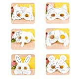 TOYANDONA 24pcs Kids Animal Painting Mask DIY Craft Handmade Masks Materials for Kindergarten(Dog + Fox + Owl + Bee + Elephant + Rabbit, 4pcs for Each Pattern)