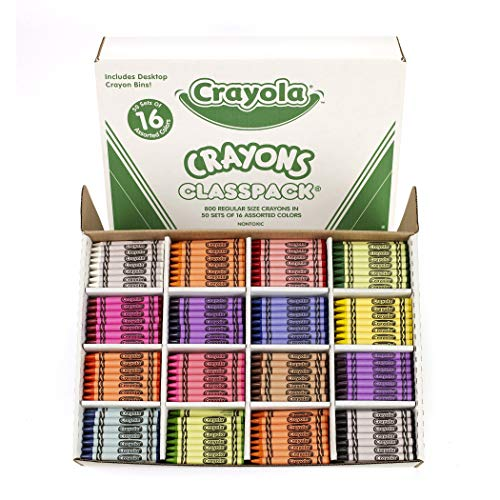 Crayon Assortment - Crayola Classpack Assortment, 800 Regular Size Crayons, 16 Different Colors (50 Each), Great for Classroom, Educational, All-Purpose Art Tools