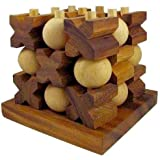 Handmade Tic-Tac-Toe 3D Wooden Puzzle for Adults & Children, Products From Thailand. By RATREE SHOP.