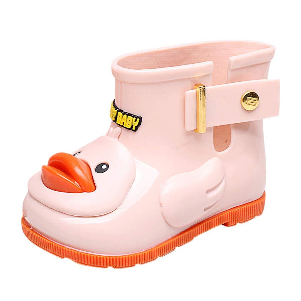 Tantisy ♣↭♣ Baby Girls Boys Cartoon Duck Rubber Rain Boot Waterproof Anti-Slip Rain Shoes (Toddler/Little Kid/Big Kid) Pink