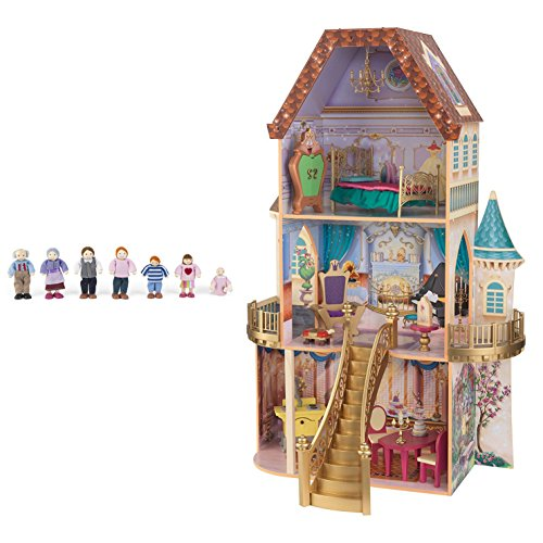 KidKraft Belle's Enchanted 3 Floor Wooden Pretend Play Dollhouse + Doll Family by KidKraft