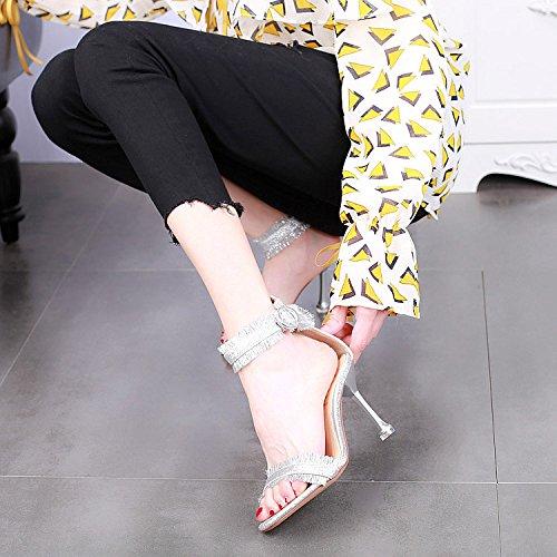 tacco alto moda stiletto argento sexy sandali alti tacchi YMFIE open Silver signore Estate toe 8ffg0