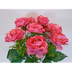 "Phoenix Silk Ranunculus Bush 12 Artificial Silk Flowers 18"" Bouquet 8206 CORAL 92"