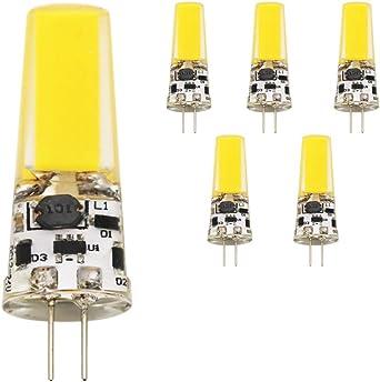 G4 Pack De 5 W bombillas LED 1 LED COB, 400 lúmenes, Repuesto para ...