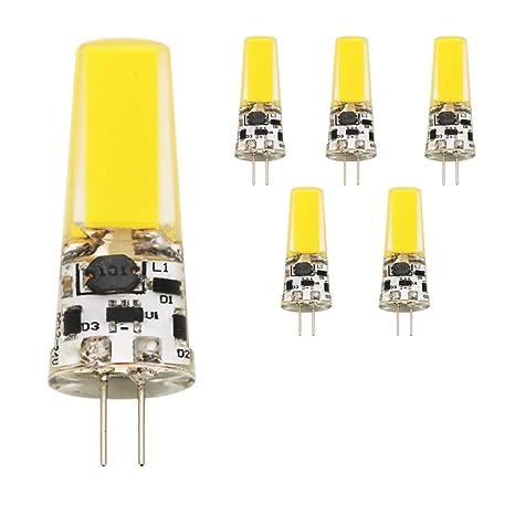 5 x Bombillas LED COB G4 5 W LED, silicona, 300 lúmenes, AC
