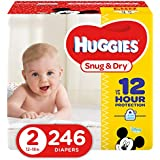 HUGGIES Snug & Dry Diapers, Size 2, 246 Count, ECONOMY PLUS (Packaging May Vary)