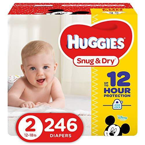 100 Yellow Small Case - HUGGIES Snug & Dry Diapers, Size 2, 246Count (Packaging May Vary)