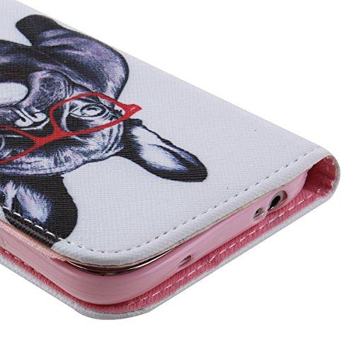 Funda para Galaxy S3 Mini, Flip funda de cuero PU para Galaxy S3 Mini, Galaxy S3 Mini Leather Wallet Case Cover Skin Shell Carcasa Funda, Ukayfe Cubierta de la caja Funda protectora de cuero caso del  Gafas de perro