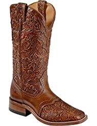 Boulet Womens Hand Tooled Belmont Cowgirl Boot Square Toe - 2015