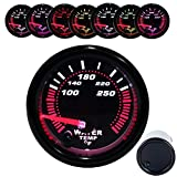 Dewhel Black Water temp Temperature Gauge Universal Meter 7-Colors LED 52mm 12V CAR Auto Gauges 100-250 °F W/ Sensor
