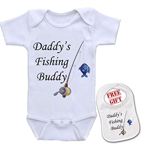 Apparel USA Daddy's Fishing Buddy, Cute Theme Baby Bodysuit Onesie & Matching bib