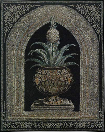 Pineapple Urn by Walter Robertson | Woven Tapestry Wall Art Hanging | Decorative Pineapple Plant on Ornate Pedestal | 100% Cotton USA Size 74x53