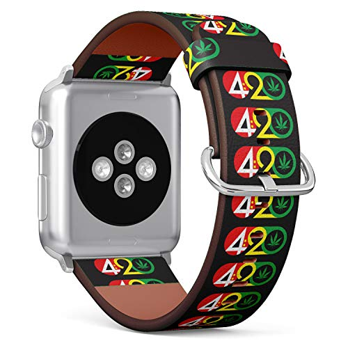 ((420 Weed Marijuana Leaf) Patterned Leather Wristband Strap for Apple Watch Series 4/3/2/1 gen,Replacement for iWatch 42mm / 44mm Bands)