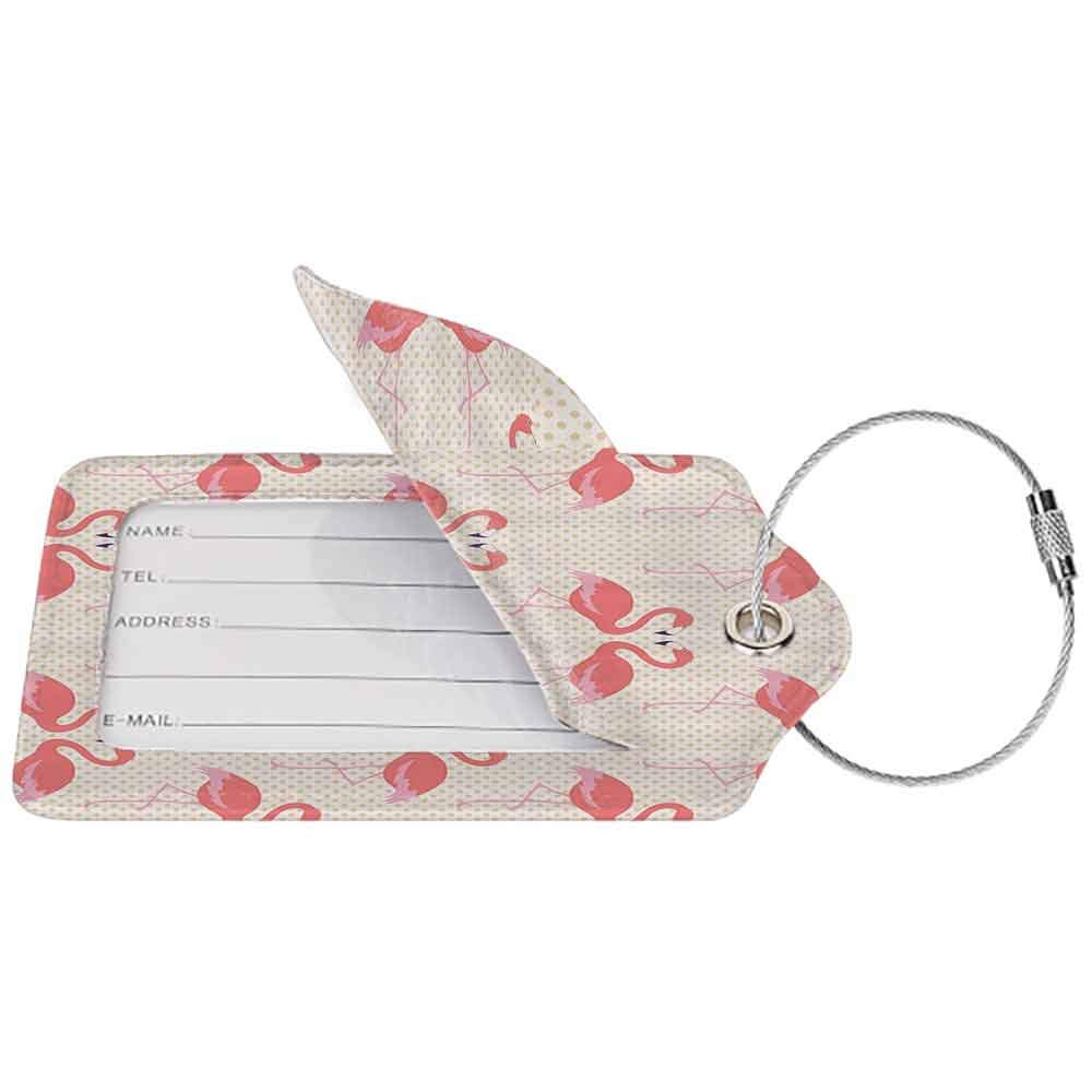 Multicolor luggage tag Flamingo Decor Collection Flamingo Couple Heart Shape with Polka Dot Background Romantic Design Art Hanging on the suitcase Salmon Pink White W2.7 x L4.6
