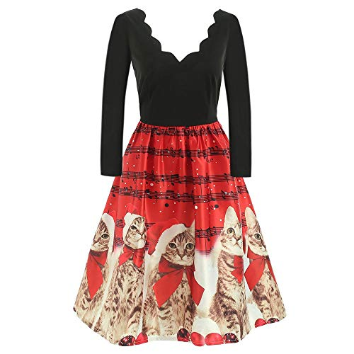 Women Long Sleeve Christmas Cats Musical Notes Print Vintage Flare Swing Dress (Size:XXL, Red) -