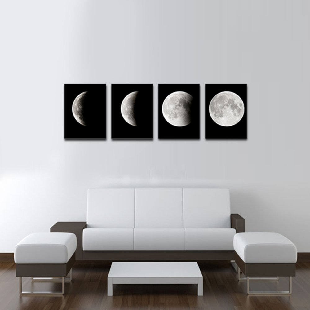 Amazon.com: Wieco Art Moon Large Modern Giclee Canvas Prints Artwork ...