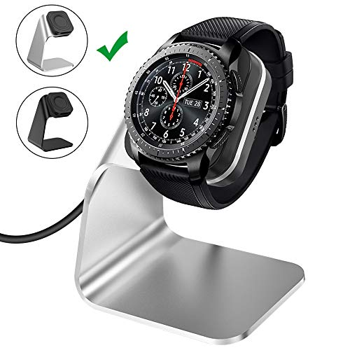 CAVN Compatible Samsung Galaxy Watch 42mm 46mm Gear S3 Charger Dock Stand, Replacement Aluminum Charging Cable Cord Station Cradle Base 4.2ft USB Accessory Compatible Galaxy Watch Smartwatch (Silver) ()