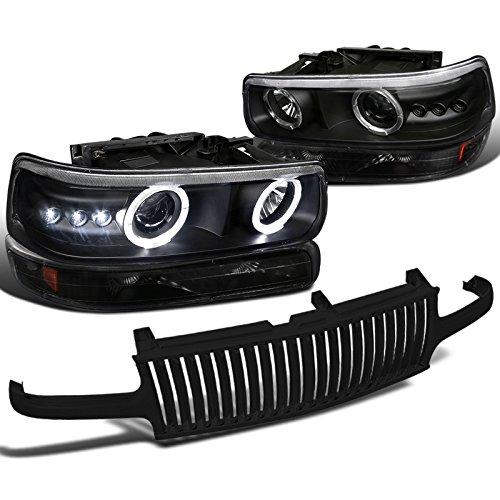 Black Chevy Silverado Halo LED Projector Headlight+Bumper Lamp+Hood Grille