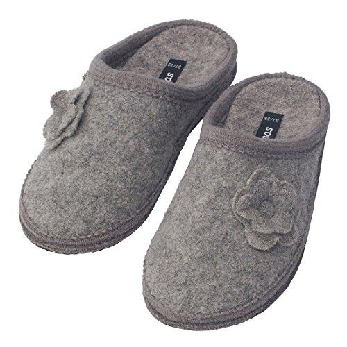 Warme Bacinas Hausschuhe Damen - Slipper 100% reine Schafwolle Winterhausschuhe zum Reinschlüpfen - Wollwalk Filzsohle Hellgrau