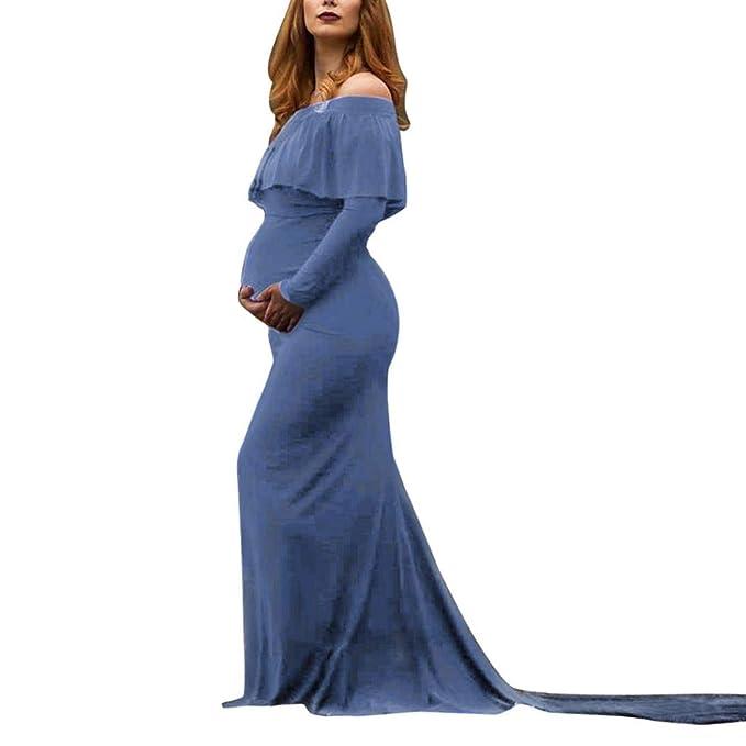 BBsmile Ropa premamá,Ropa Embarazadas Mujeres Embarazada Sexy Fotografía de apoyos de Hombros Volantes de