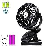 Clip on Fan with Double Battery, Usb Desk Fan, Adjustable Speeds, Rechargeable Battery