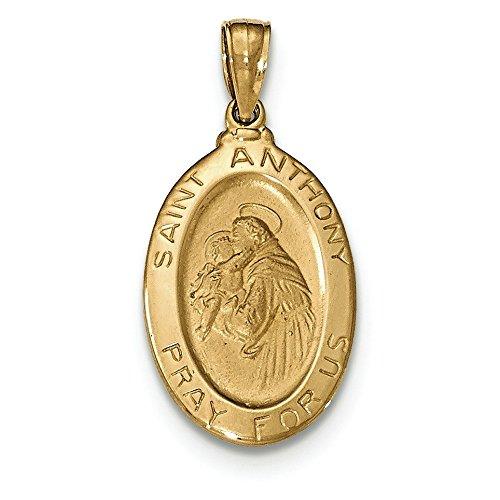 Saint Antoine Pendentif Ovale Médaille Or 14ct
